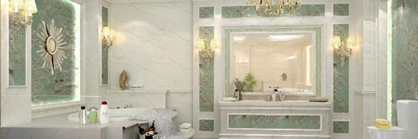 green marble wall